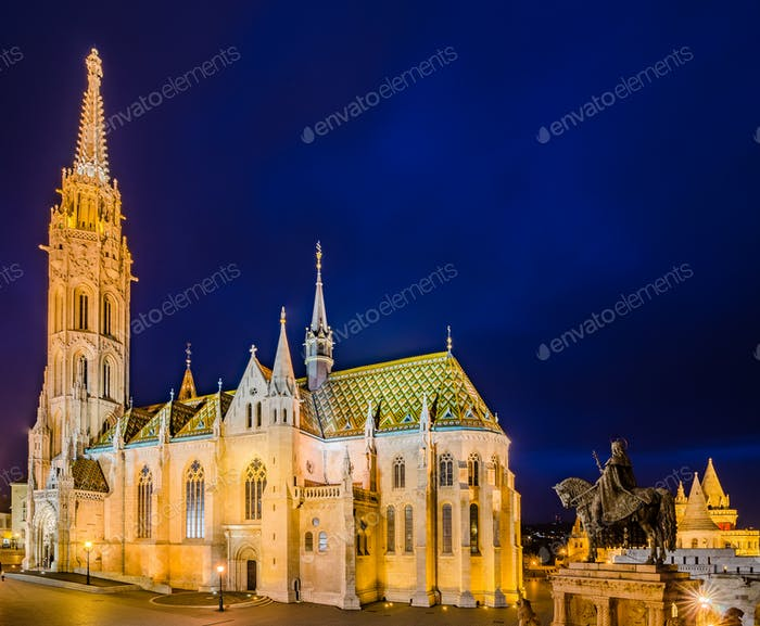 Night view of the Matthias Church in Budapest, Hungary.