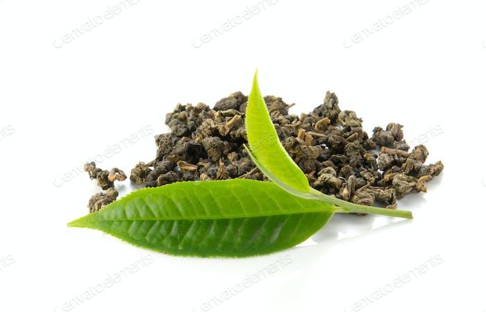 Green tea leaves,dry tea on white background.