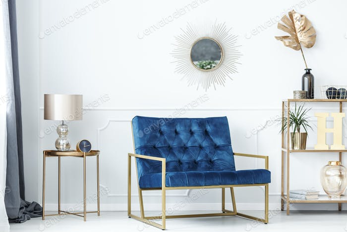 Blue and gold living room