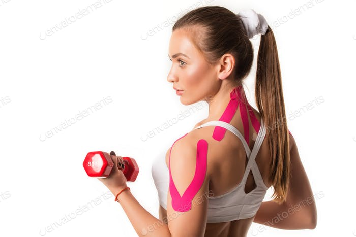 Cute young girl athlete fitness trainer