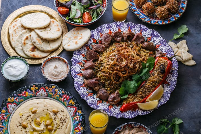 Middle eastern or arabic party food top view