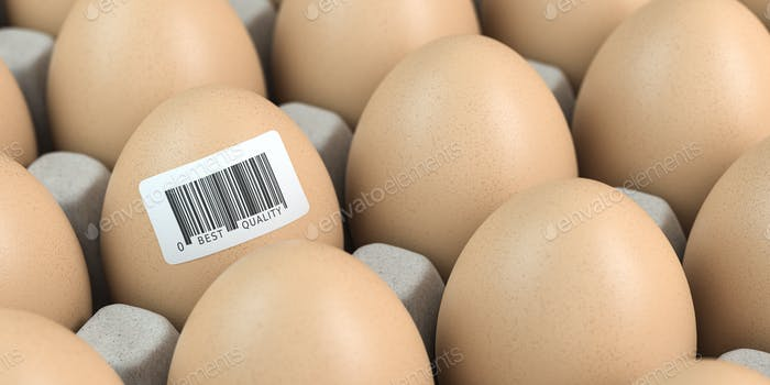 Chicken egg with barcode sticker. Quality control concept.