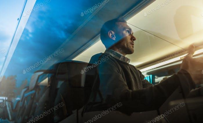 Caucasian Men Business Travel in Coach Bus