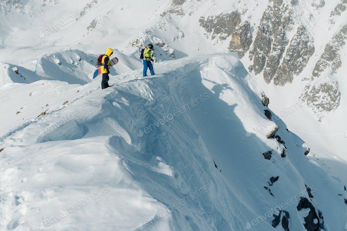 Sportsmen is walkig on the mountain
