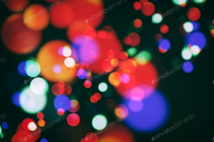 color bokeh with christmas lights