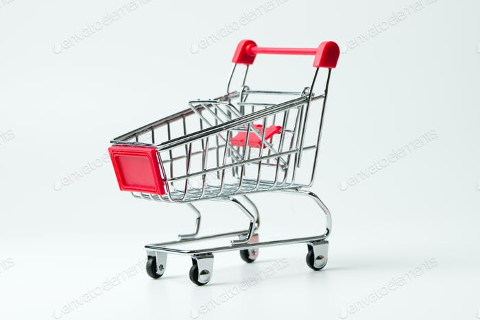 Empty red color shopping cart