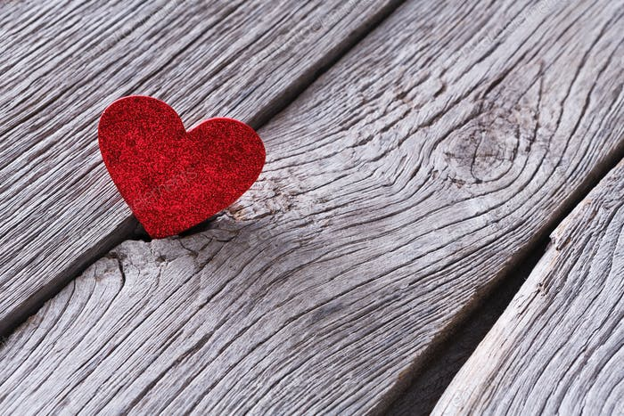 Valentine day, paper heart on wood background, copy space