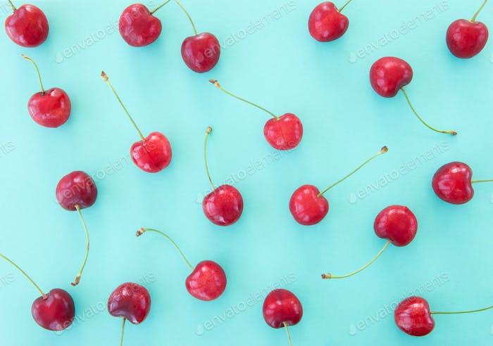 Cherries on blue