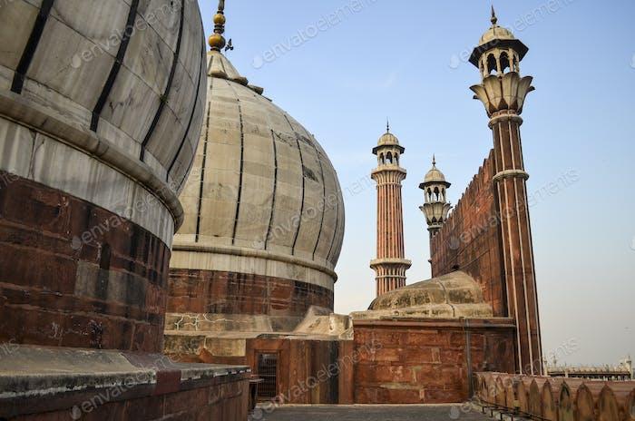 Exterior view of Jama Masjid mosque in Delhi, India.