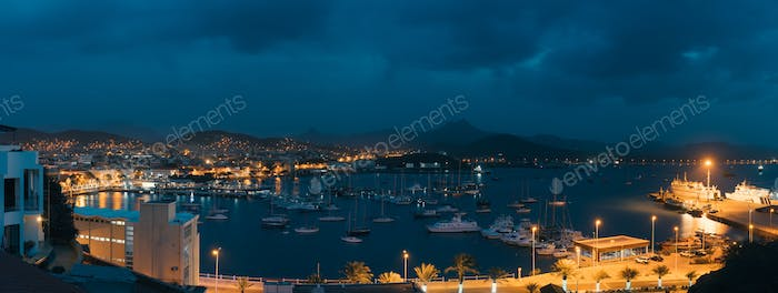 Mindelo in twilight. Port town with many boats in the bay on the Cape Verde in the northern part of