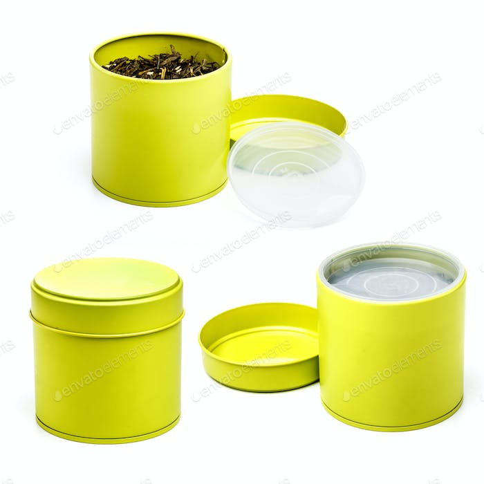 Yellow tea tin