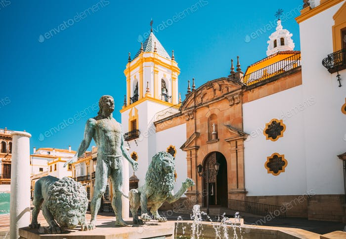 Ronda, Spain. Fountain in Plaza Del Socorro Church In Ronda, Spain. Nuestra Senora del Socorro. Old