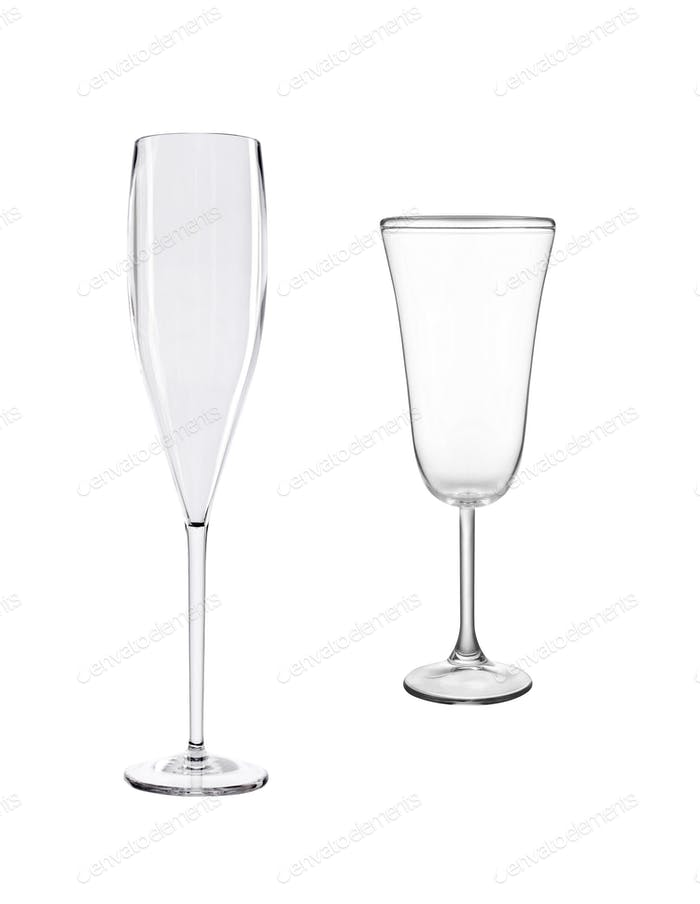 empty champagne glasses isolated