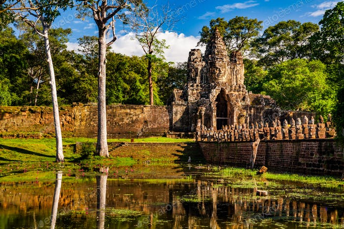 Angkor Thom South gate and bridge, Cambodia