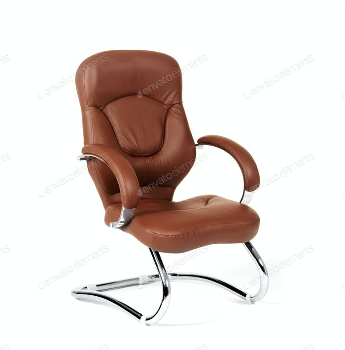 The office chair from brown leather