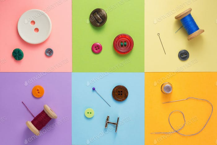 sewing tools and accessories at paper background