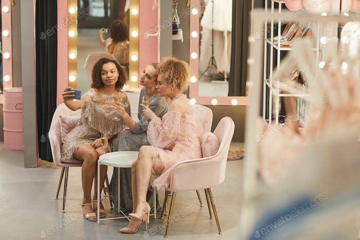 Beautiful Women Taking Selfie in Dressing Room