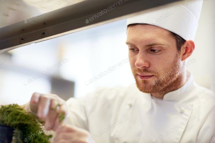 glücklicher männlicher Koch in der Restaurantküche
