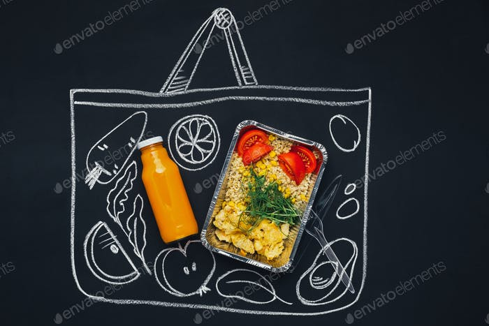 Chalk drawn sketch shopping bag with healthy food