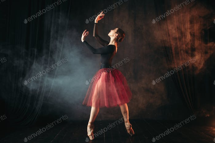 Ballet dancer in red dress dancing on the stage