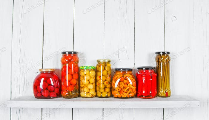 Preserved food in glass jars