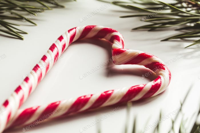 Christmas composition. Christmas candy canes and fir branches. Flat lay