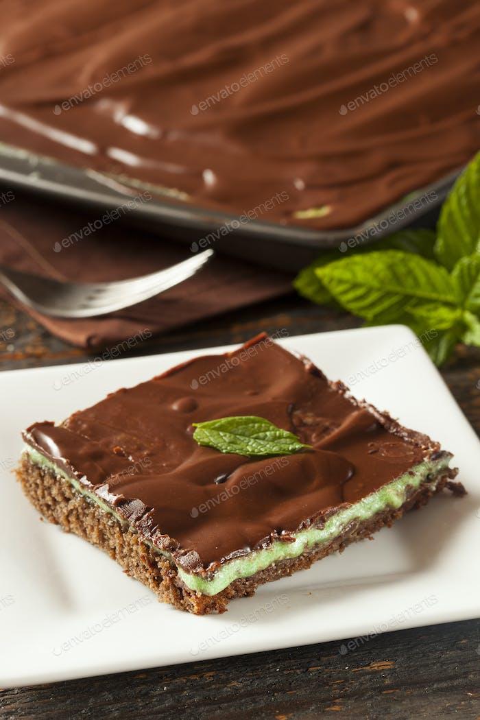 Hausgemachte Schokolade und Minze Brownie