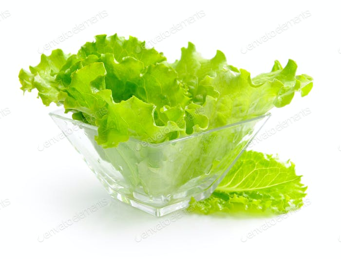 Fresh green salad in a glass dish on white background