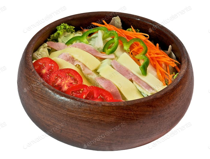 Salad bowl with ham and cheese