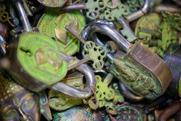 Assorted padlocks and keys