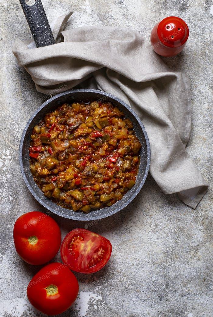 Sauteed or stewed eggplant with tomato