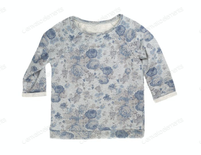 Grey Womens sweaters patterned with flowers