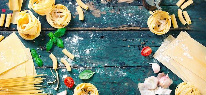 Fond de pâtes alimentaires italiennes