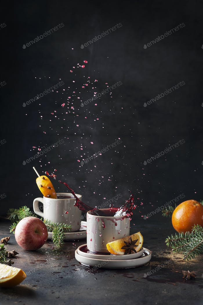 Hot mulled wine with steam