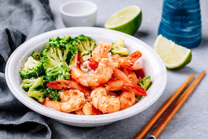 Spicy Shrimp Burrito Bowl with cilantro lime rice and broccoli