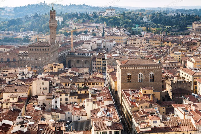 above view of Florence town with Palazzo Vecchio
