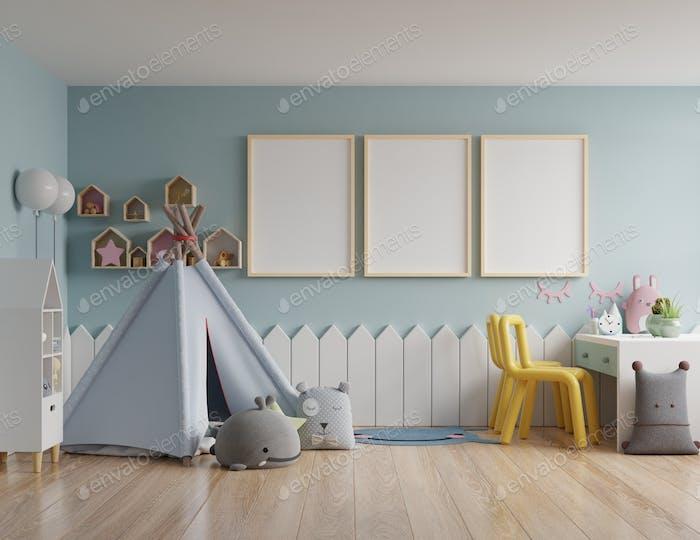 Children's bedroom/mockup poster frame in children room.