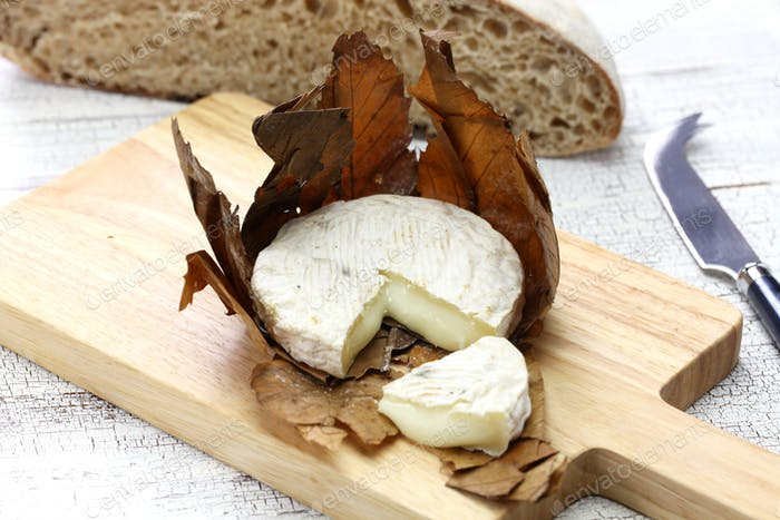 banon a la feuille, french goat cheese is wrapped in chestnut leaves