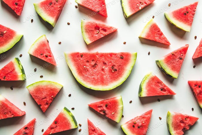 Watermelon pattern. Red watermelon on white background. Summer concept