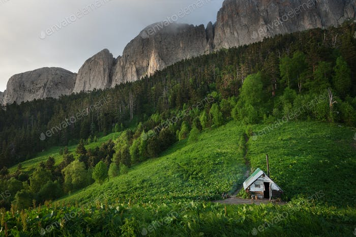 Small house in the forest. Shelter for hunters and tourists