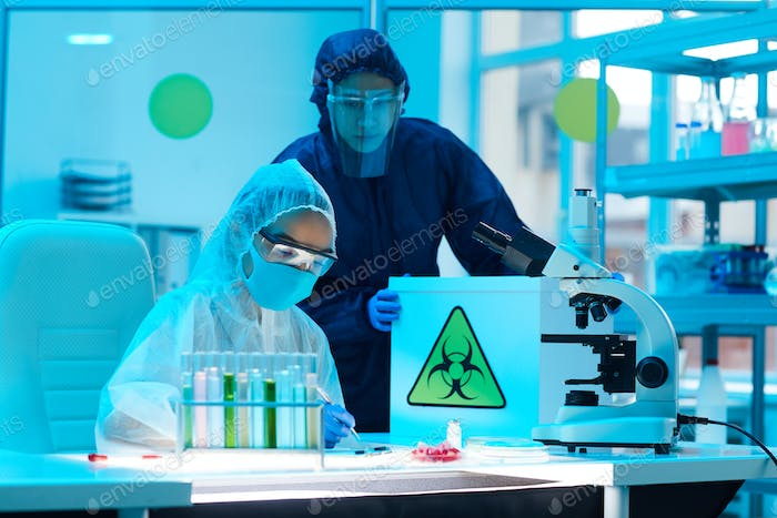 Workers in Bio Hazard Lab