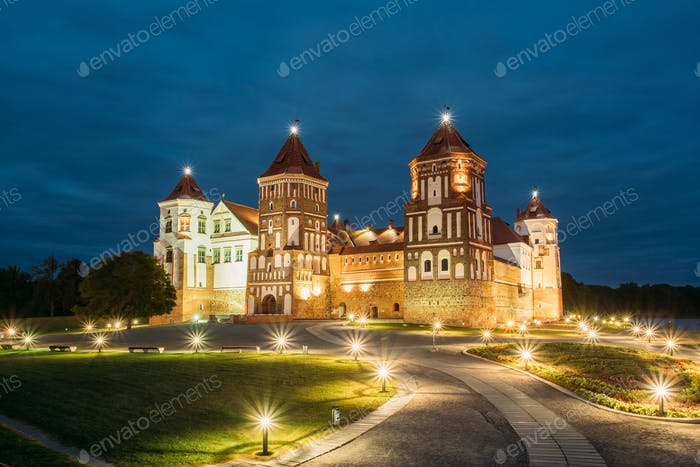 Mir, Belarus. Mir Castle Complex In Evening Illumination Lightin