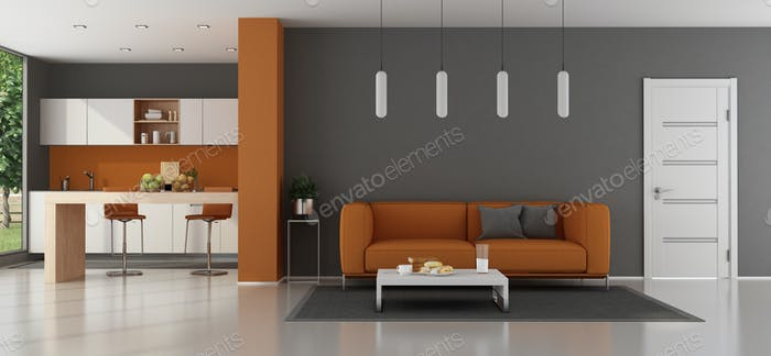 Modern living room with kitchen on background