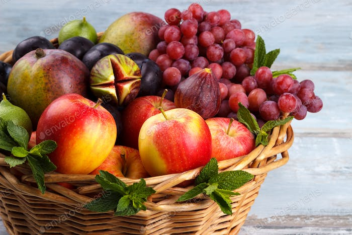 Basket of fresh organic fruits