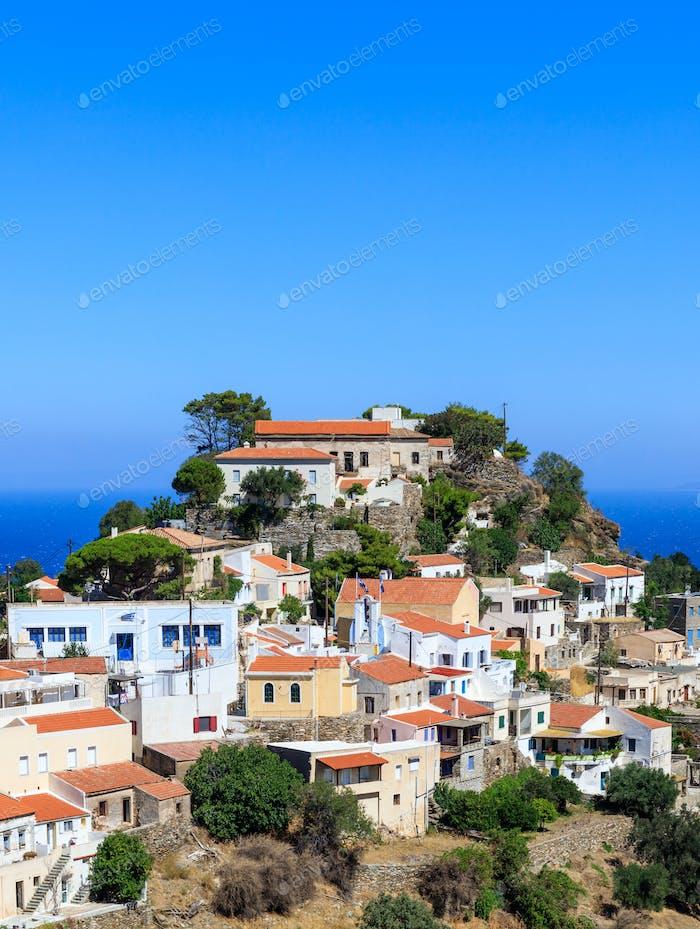 Greece, Kea Tzia island. Capital city Ioulis, blue sky background