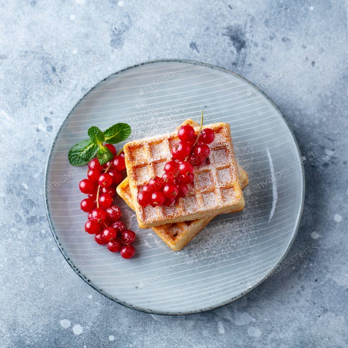 Belgian Waffles with Fresh Red Currant Berries. Grey Background. Top View.