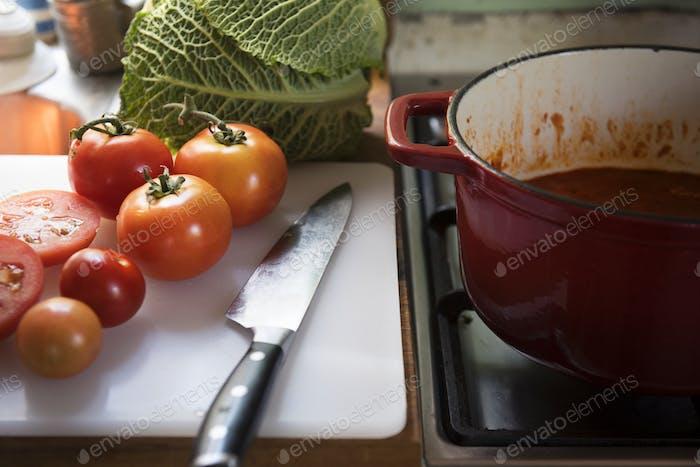 Tomato sauce food photography recipe idea