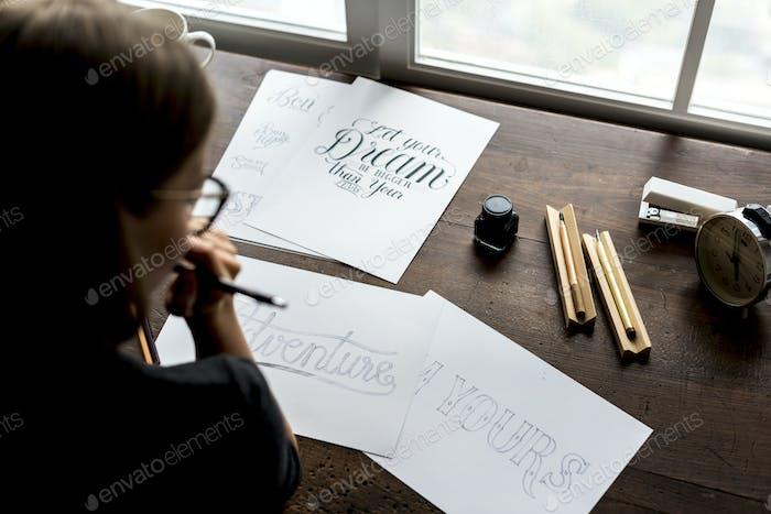 Closeup of calligraphic artwork