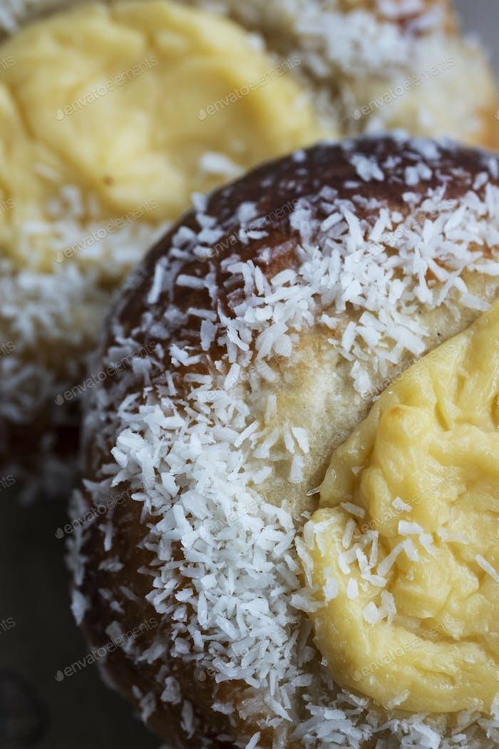 High angle close up of freshly baked Danish Custards.