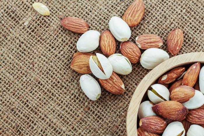 Almond on a sack